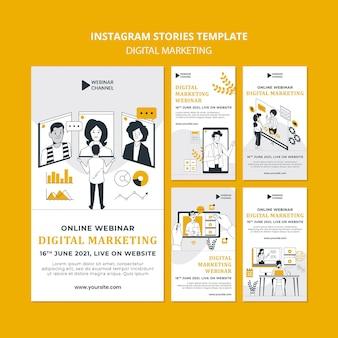 Historias ilustradas de instagram de marketing digital
