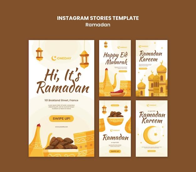 Historias ilustradas de las redes sociales de ramadán.
