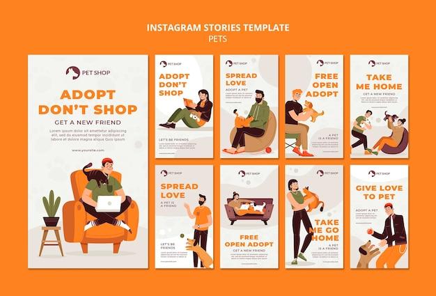 Historias de instagram de adopción de tienda de mascotas