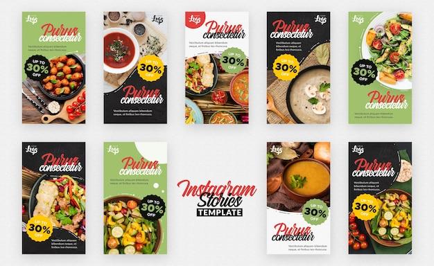 Historias de instagram de alimentos saludables y bio