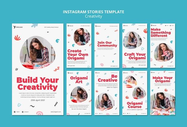 Historias de instagram de concepto de creatividad