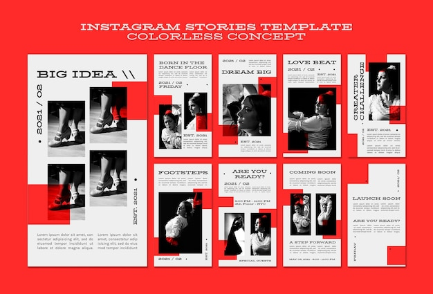 Historias de instagram de concepto incoloro