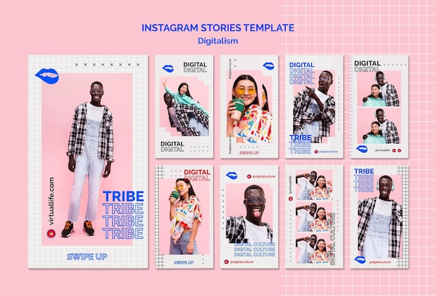 Historias de instagram de cultura digital de hombre y mujer joven