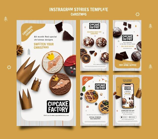 Historias de instagram de cupcakes navideños