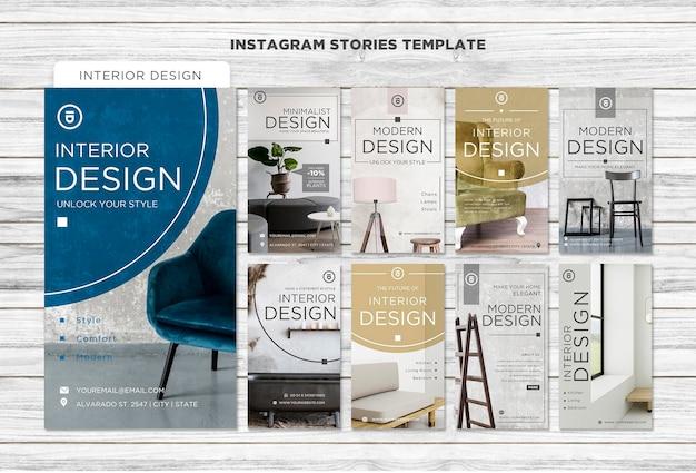Historias de instagram de diseño de interiores