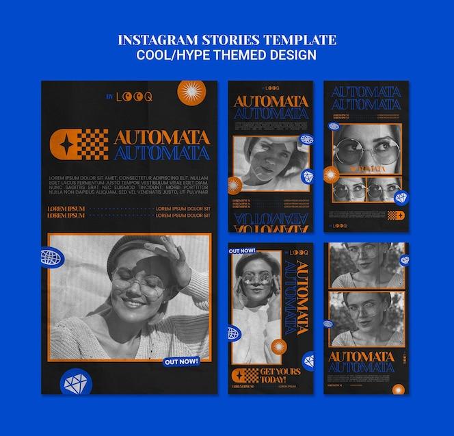 Historias de instagram de diseño temático fresco