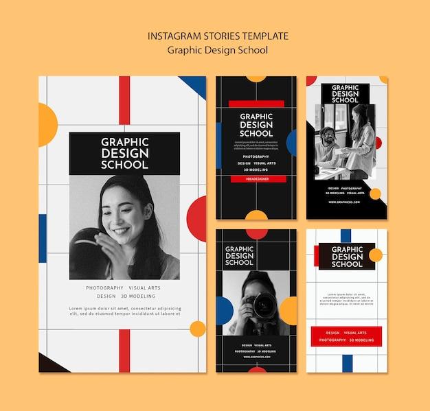 Historias de instagram de la escuela de diseño gráfico