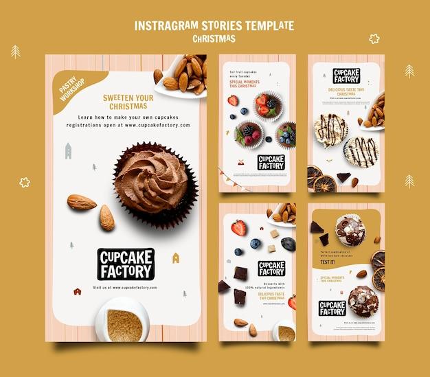 Historias de instagram de fábrica de cupcakes navideños