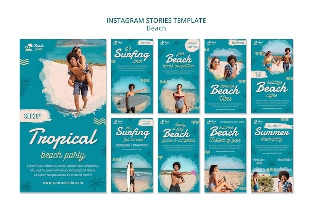Historias de instagram de fiesta en la playa de vacaciones
