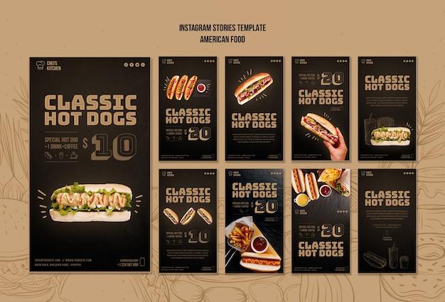 Historias de instagram de hot dogs clásicos americanos