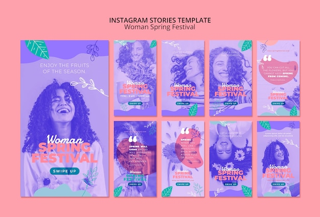 Historias de instagram con mujer festival de primavera
