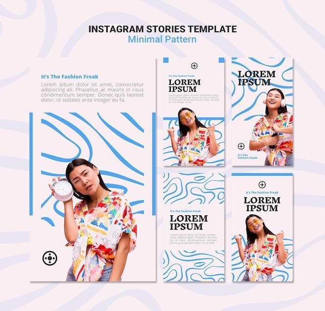 Historias de instagram de patrón mínimo