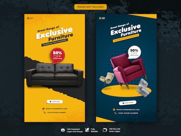 Historias de instagram y plantilla de venta de muebles para publicaciones de feed