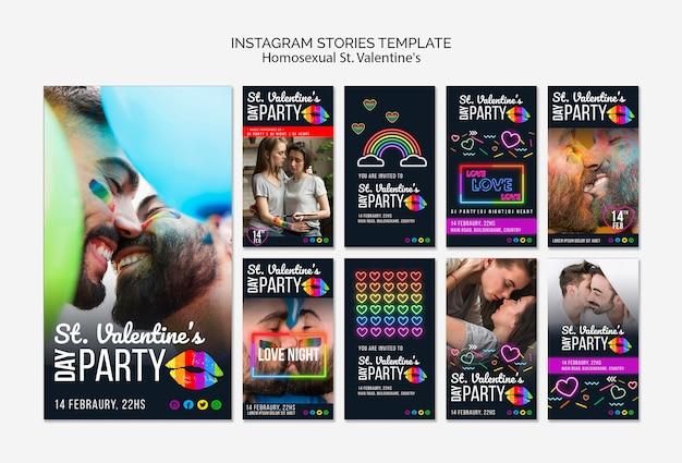 Historias de instagram para st. fiesta lgbt de san valentín con foto
