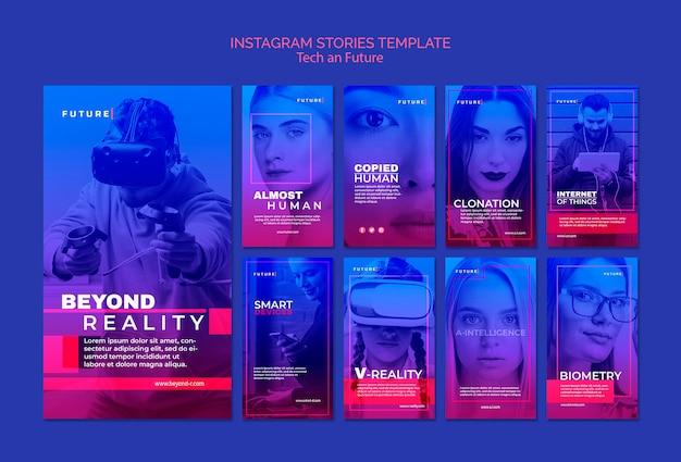 Historias de instagram de tecnología y concepto futuro