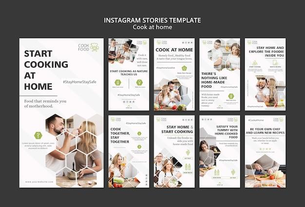 Historias de instagram con tema de cocina en casa