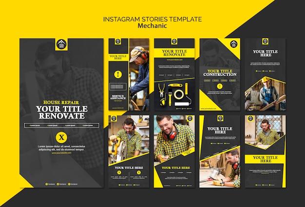 Historias de instagram de trabajador manual de carpintero