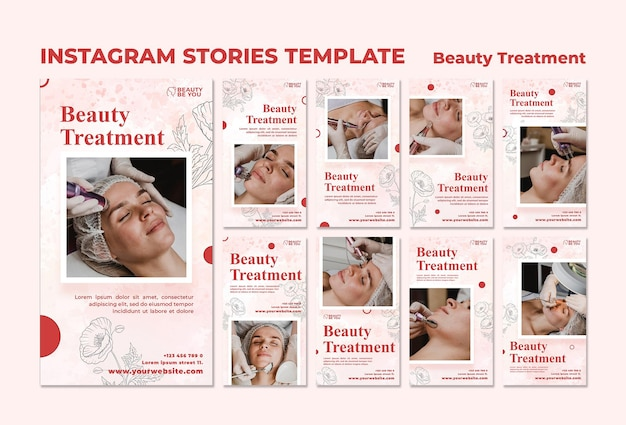 Historias de instagram de tratamientos de belleza