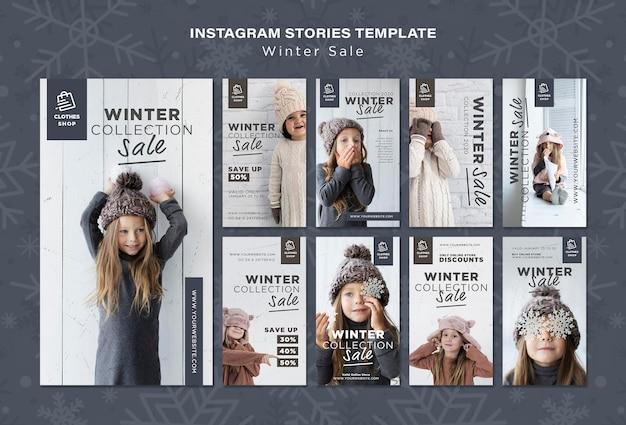 Historias de instagram de venta de colección de invierno de niño lindo
