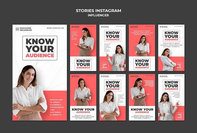 Historias de publicaciones en redes sociales de influencers