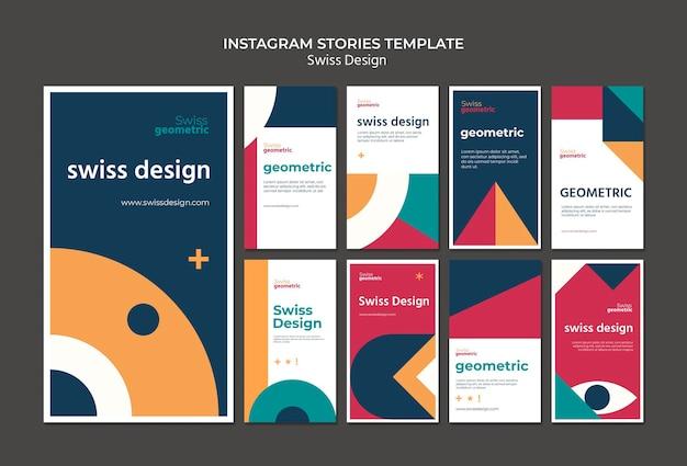 Historias de redes sociales de diseño suizo