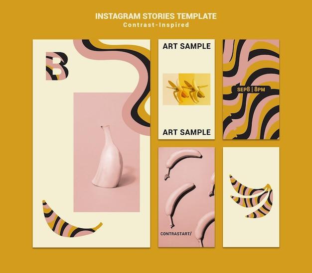 Historias de redes sociales de la exposición de arte inspirada en el contraste