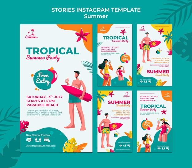 Historias de redes sociales de fiestas de verano tropical