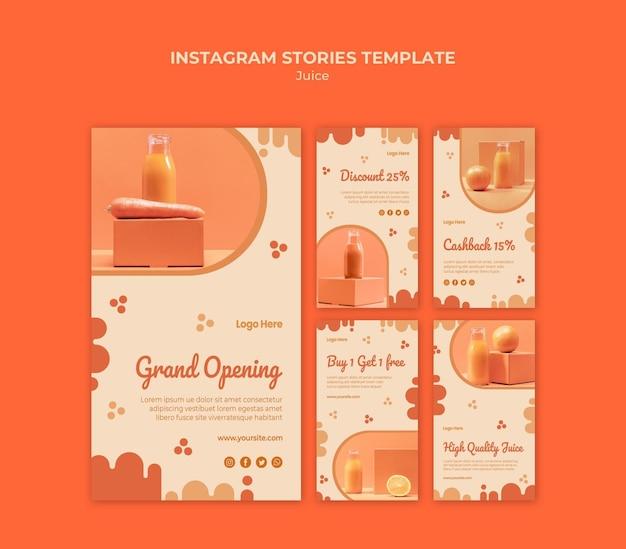 Historias de redes sociales de jugo de naranja
