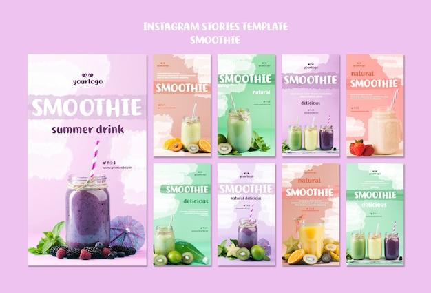 Historias refrescantes de instagram de smoothie