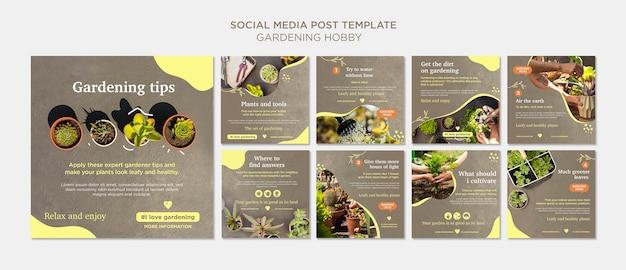 Hobby de jardinería publicación en redes sociales