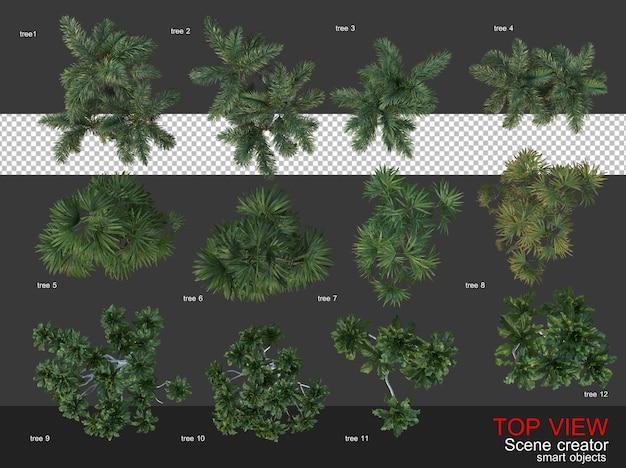 Hoge hoek camera bomen en struiken
