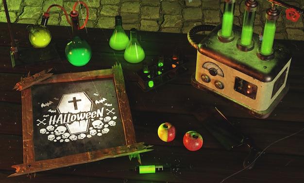 Hoge hoek halloween-regeling met oude machine