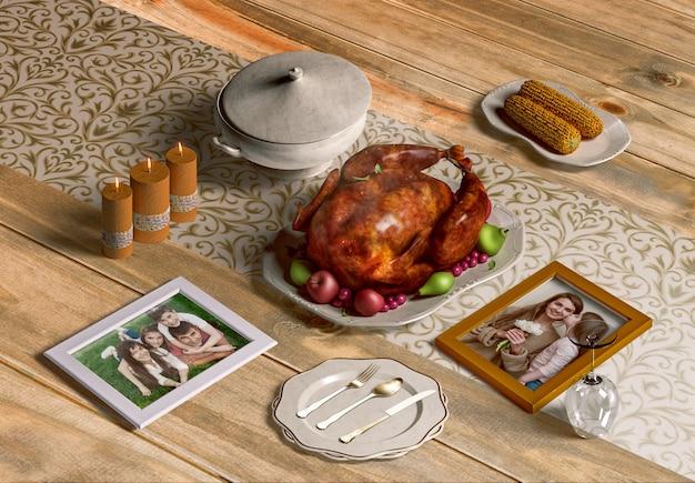 Hoge hoek van de maker van de thanksgiving-scène met frames mock-up