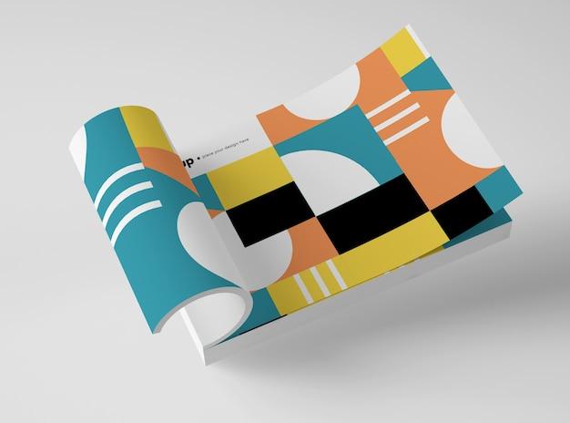 Hoge hoek van mock-up papier met geometrisch ontwerp