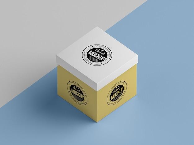 Hoge hoek van mock-up van verpakkingsdozen