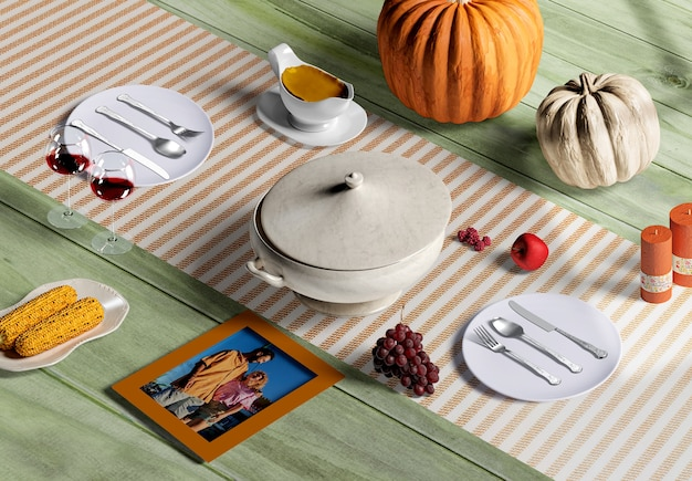 Hoge hoek van thanksgiving scène maker concept mock-up
