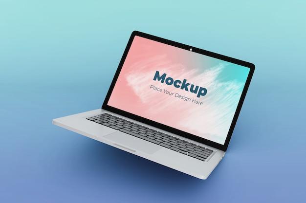 Hoge kwaliteit drijvende laptop mockup ontwerpsjabloon