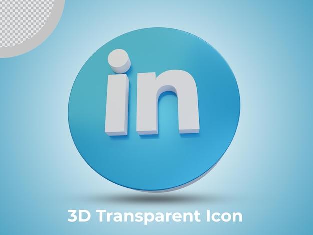 Hoge kwaliteit linkedin 3d teruggegeven pictogram vooraanzicht