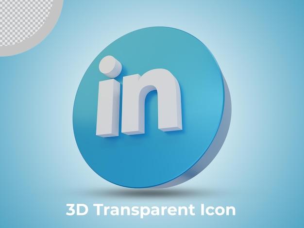 Hoge kwaliteit linkedin 3d teruggegeven pictogram zijaanzicht