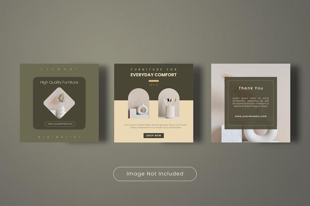 Hoge kwaliteit meubels instagram post banner sjabloon collectie