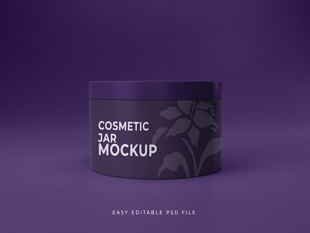 Hoge kwaliteit premium natuur violet kleur cosmetische pot mockup ontwerp