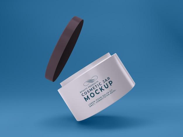 Hoge kwaliteit premium witte cosmetische pot psd mockup ontwerp