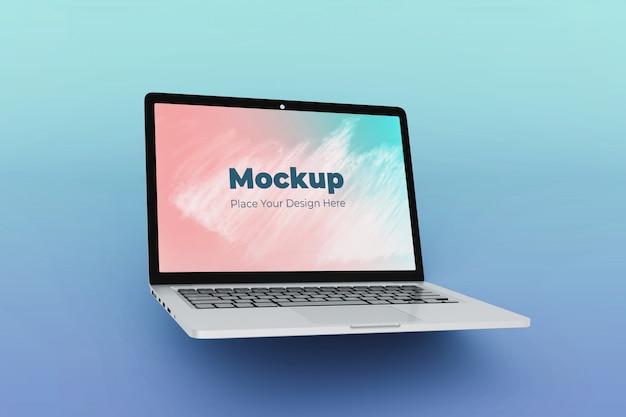 Hoge kwaliteit schone drijvende laptop mockup ontwerpsjabloon