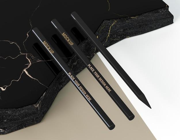 Hoge weergave elegante zakelijke zwarte potloden