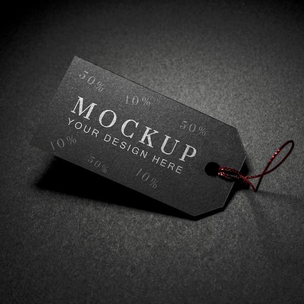 Hoge weergave mock-up zwarte vrijdag prijskaartje met draad