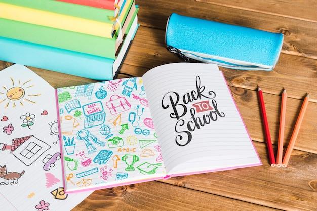 Hoge weergave terug naar school met open boek