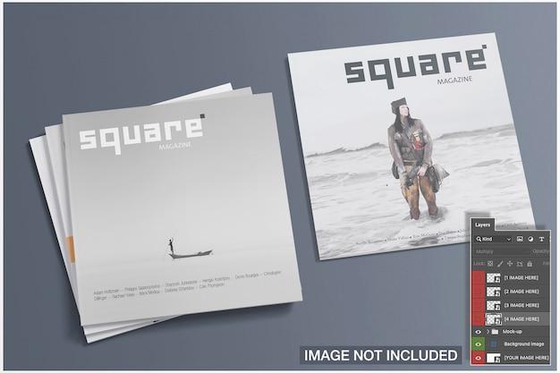 Hoge weergave van vier vierkante tijdschriften dekt mockup