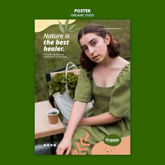 Hoge weergave vrouw en groenten poster sjabloon