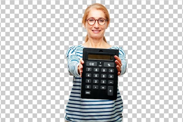 Hogere mooie vrouw met een calculator