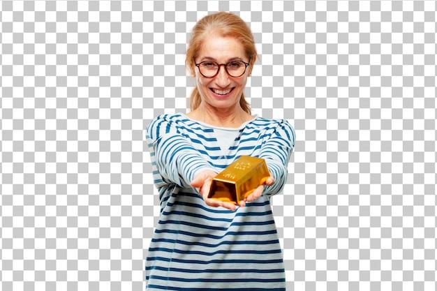 Hogere mooie vrouw met een gouden baar